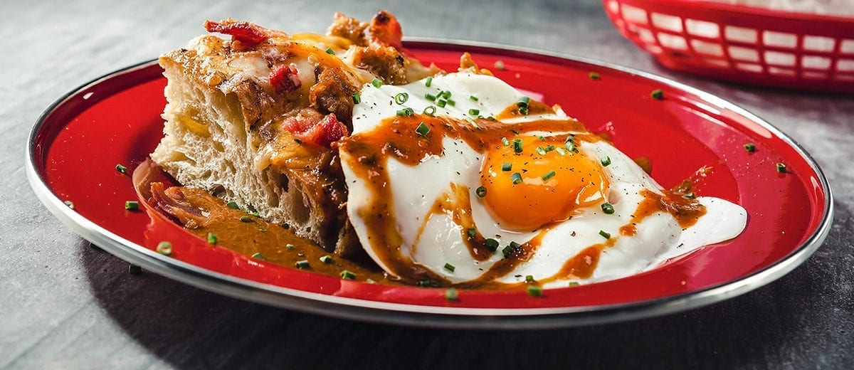 focaccia bread with egg and kogi sauce