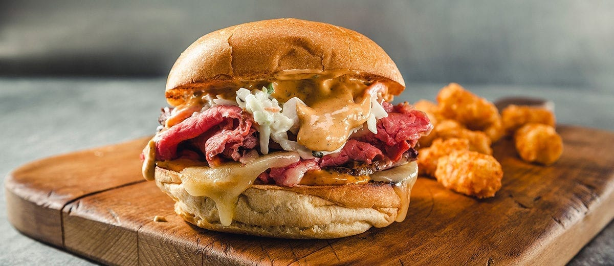corned beef sandwich with slaw and kogi sauce