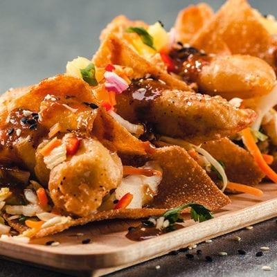 wonton tacos platter with kogi sauce