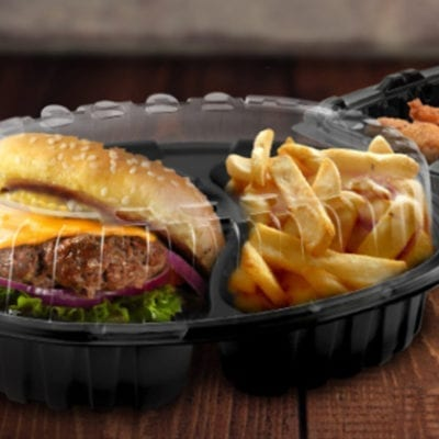 anchor take out containers with burger and fries