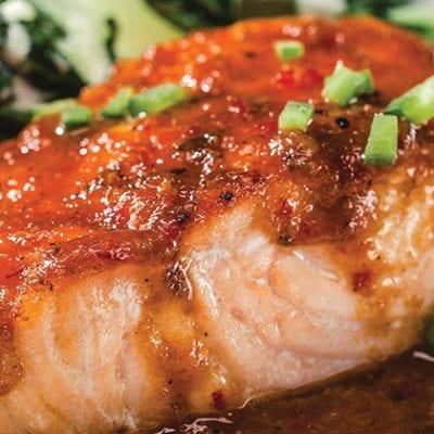 salmon topped with kogi sauce