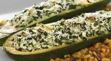 zucchini stuffed with stouffers spinach and artichoke dip