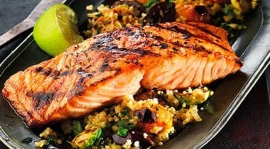 highliner salmon grilled on quinoa and vegetables