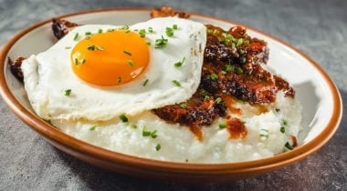 brisket with grits and egg and kogi sauce