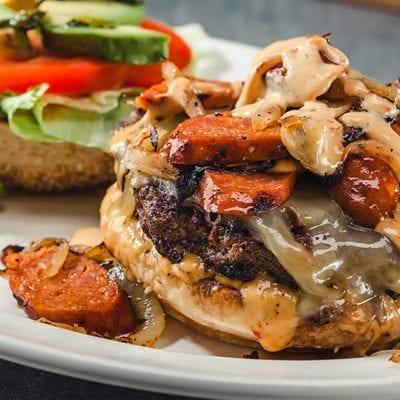 kogi sauce, sausage, burger and avocado