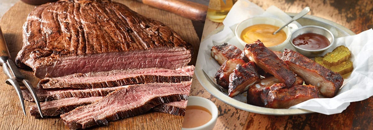 flank steak and ribs