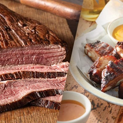 flank steak and ribs