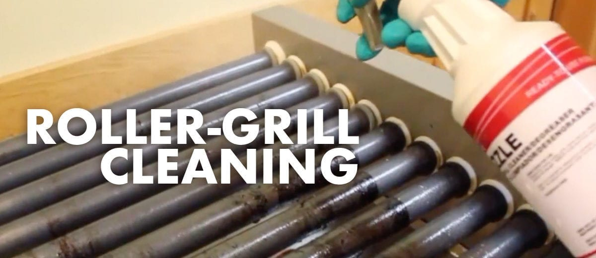 roller grill with sizzle cleaner