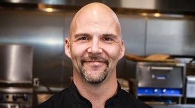 Man, Chef Tim in test kitchen