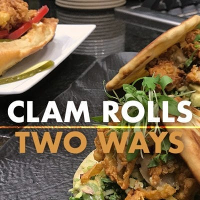 fried clams roll and fried clams with greens on naan