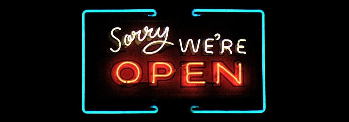 neon sign, sorry we're open