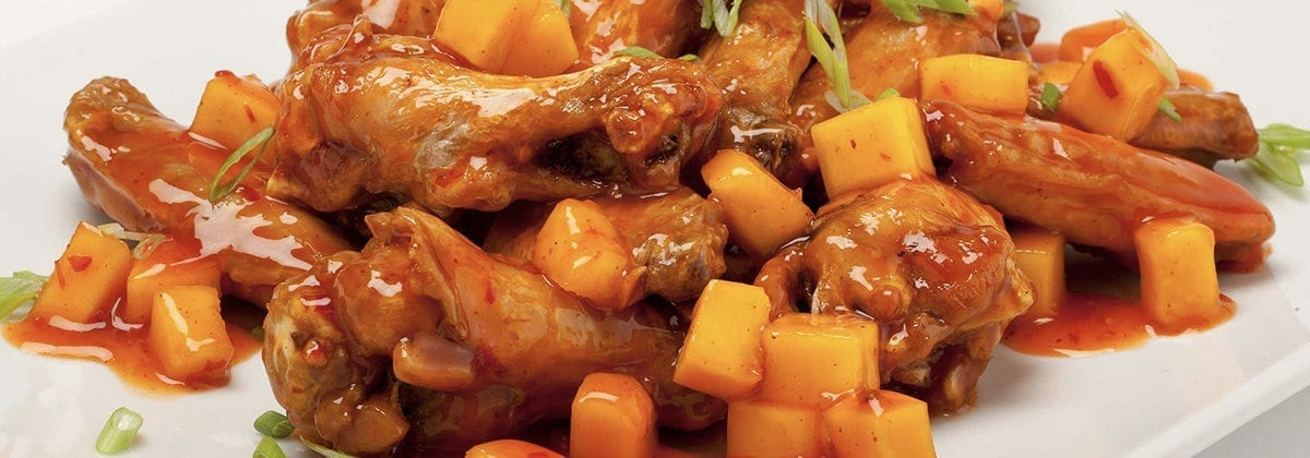 chicken wings with chunky pineapple sauce