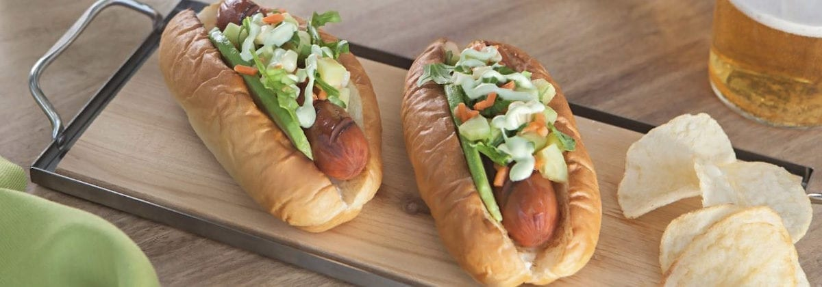 loaded hotdogs in buns