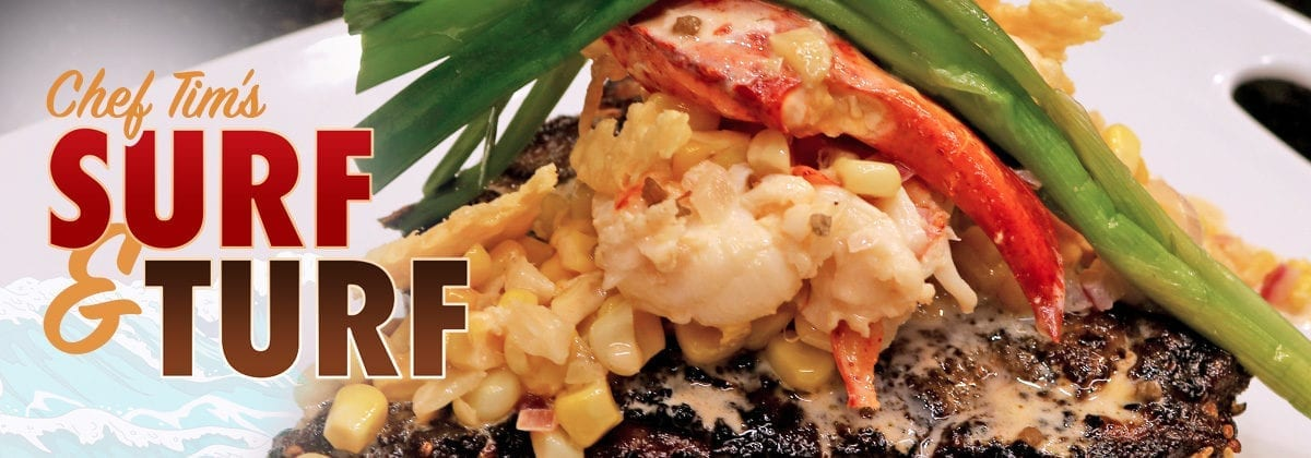 steak with lobster and cream corn, sur and turf graphic