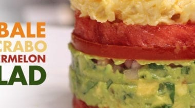layers of avocado, watermelon, tomato and crabs, entree