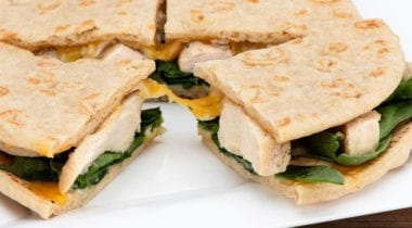 grilled chicken quesadilla on plate