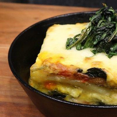 lasagna in cast iron skillet