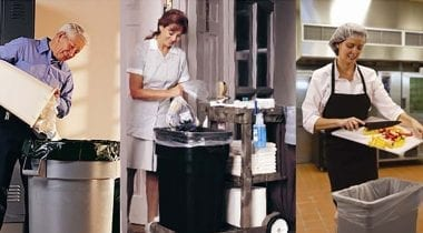 janitorial staff trash cans cleaning supplies