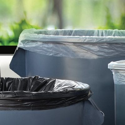 different trash cans with liners