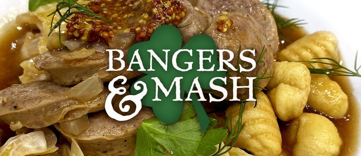 bangers and mash recipe graphic