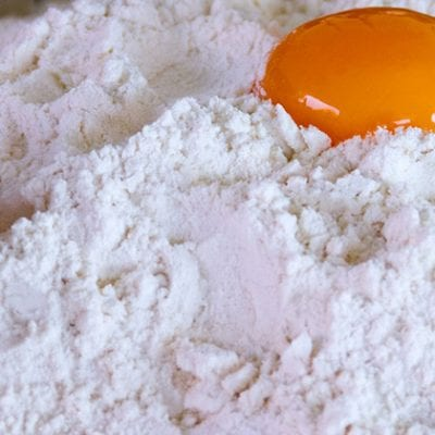 flour with egg on it