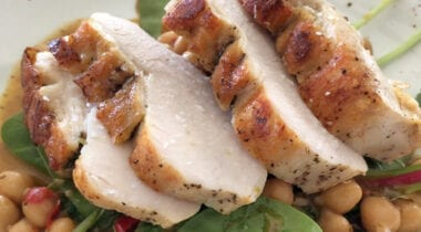 Sliced Turkey on Chickpeas