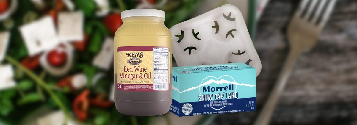 Red Wine Vinegar & Oil Gallon, Morell Snow Cap Lard, Drink Tray