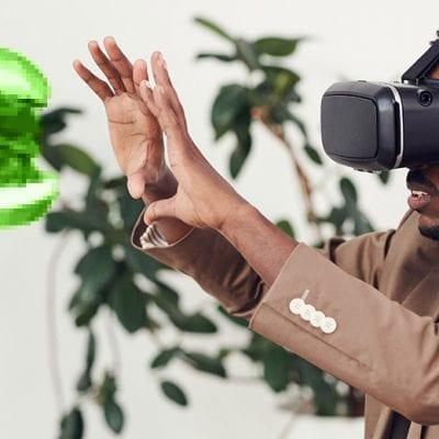 man wearing virtual reality headset virtual burger