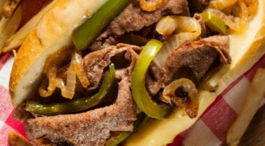 philly steak sandwich with peppers and onions