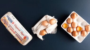 esbenshade farms organic eggs in carton and on blanket