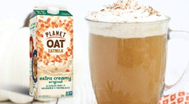 pumpkin spice latte with planet oat milk carton graphic