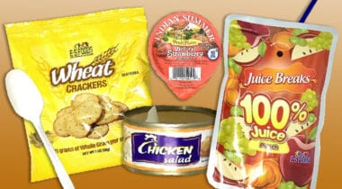 chicken salad, wheat crackers and juice kit