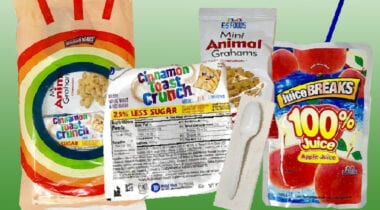 cinnamon toast crunch cereal, animal crackers and juice kit
