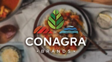 conagra brands logo with food backdrop