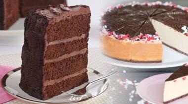 chocolate cake and peppermint bark cheesecake