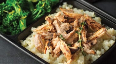 hormel fire braised chicken thigh shredded on rice with broccoli