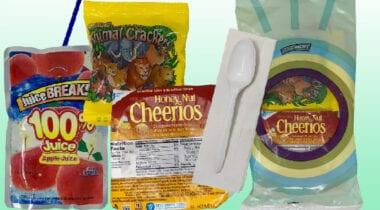honey nut cheerios, animal crackers, juice box kit