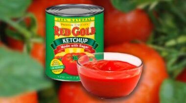 red gold ketchup can and bowl of ketchup