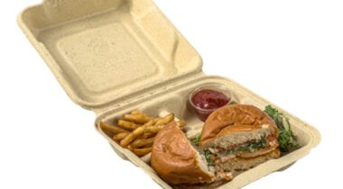 fiber takeout container with burger and fries