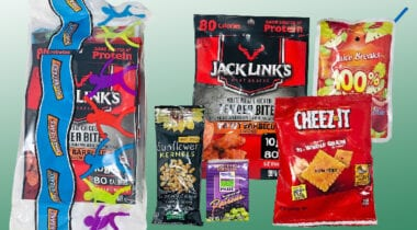 ES foods lunch kit with jack links, cheez its, juice, raisins and sunflower seeds