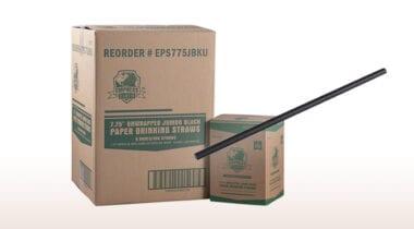 black paper straw bulk pack