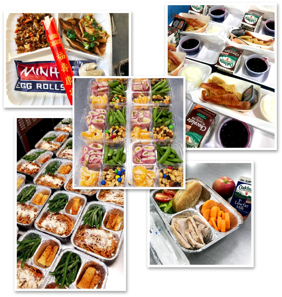 picture collage of packaged school foods from Bath school systems
