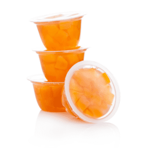 individually wrapped diced peaches in juice