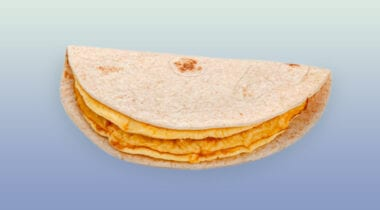 cheese omelet with whole wheat tortilla individually wrapped