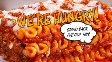 we're hungry lasagna graphic