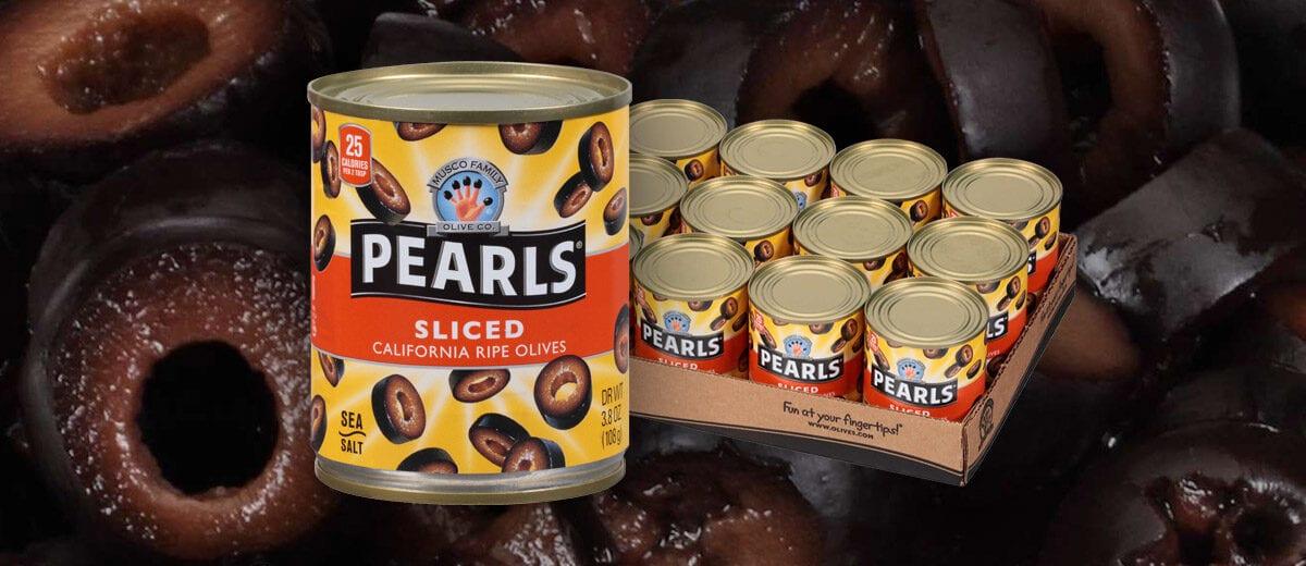Pearls sliced black olives cans