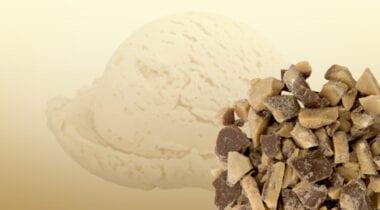 Vanilla ice cream with heathbar pieces