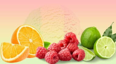 rainbow sherbet with orange raspberry and lime flavors