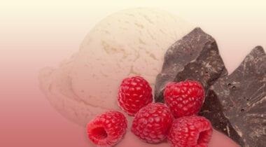 vanilla ice cream with chocolate raspberry cups