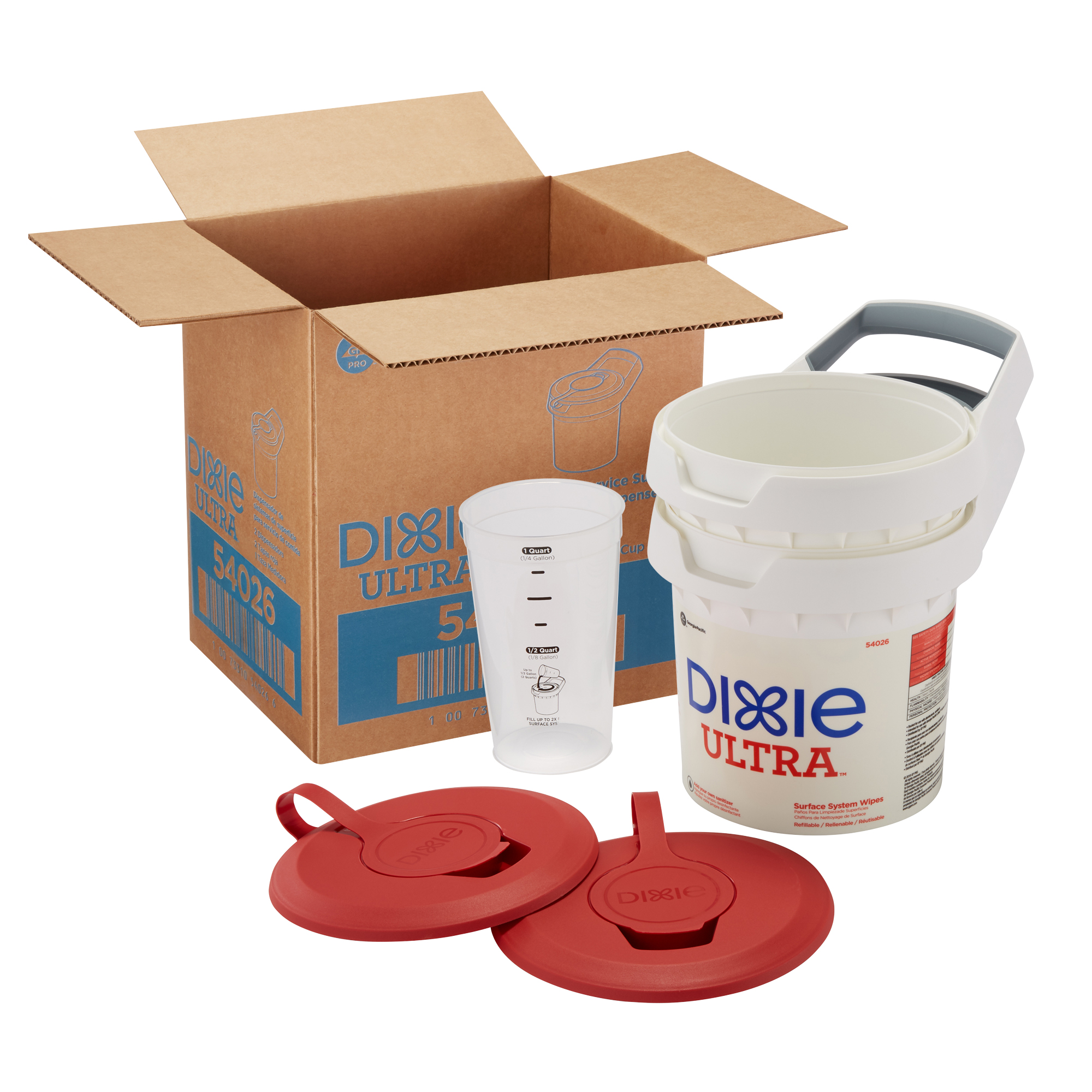 dixie ultra surface system box contents, buckets, lids, measuring cup